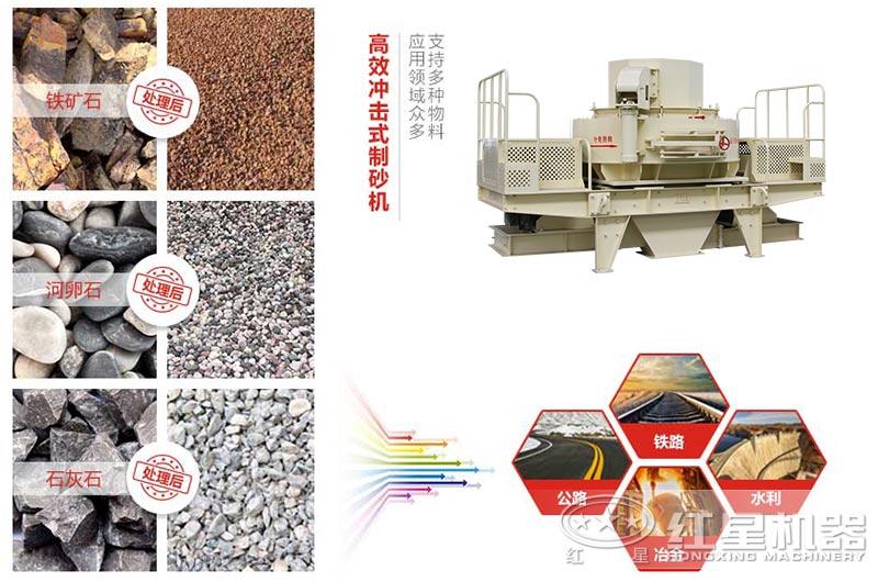 鹅卵石制砂机可应用于水利、建筑、公路等行业