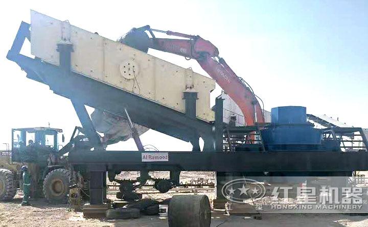 移动干式制砂机生产现场